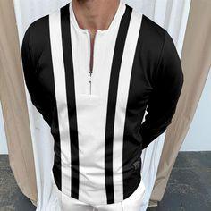BrosWear Classic Men's Contrast Color Stripe Print Long Sleeve Polo Shirt Baseball, Linen Tshirts, Satin Midi Dress, Color Blocking, Long Sleeve Polo, Color Stripes, Stripe Print, Men Casual, Man Shop