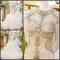YZ Beads Crystal Sexy Diamond Wedding Dresses  VXGVX