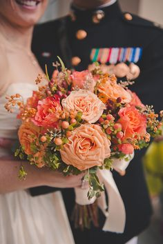 Stunning Peach and Orange Fall Bouquet | Bit of Ivory Photography | Traditional Autumn Wedding in Eggplant and Orange