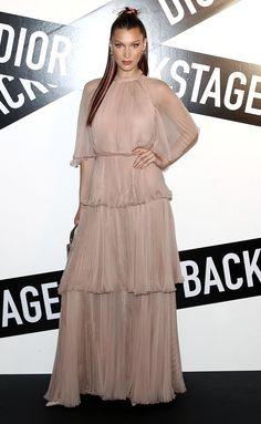 Bella Hadid in a blush ruffle Dior dress