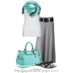 """Turquoise, White and Gray"" by jaycee0220 on Polyvore"
