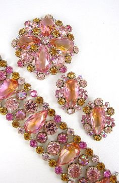Schreiner Vitrail Rhinestone Bracelet Pin & Earrings
