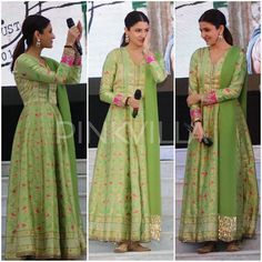 Celebrity Style,manish malhotra,anushka sharma,Allia Al Rufai,Jab Harry Met Sejal Promotions Indian Gowns, Indian Attire, Pakistani Dresses, Indian Wear, Indian Outfits, Indian Style, Indian Ethnic, Mode Bollywood, Bollywood Fashion