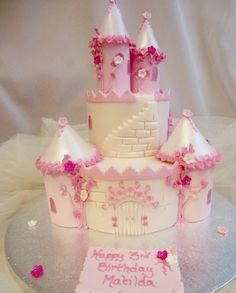 A magical fairy castle cake fit for a princess! Two tier fairy castle cake in a choice of pinks, lilacs or baby blues. Detailed intricate piping and pretty glittered blossom flowers add that special touch to this ultimate girly cake.