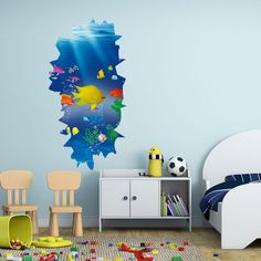 Undersea Paradise Stereo Effect Wall Stickers - Wall Decals - Wall Stickers - Home Decor 3d Wall Decals, Wall Stickers 3d, Wall Stickers Home Decor, Wardrobe Wall, Fridge Stickers, Sea Fish, All Wall, Kids Room, Paradise