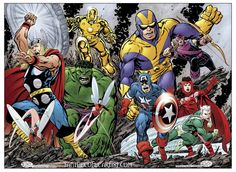 The Avengers,the original team with the new team(Cap's Kooky Quartet)by John Byrne.