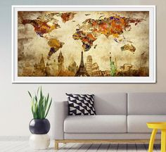 LARGE Wall Art World Map Push Pin Print / Watercolor World Map Print / | Fine Art Center