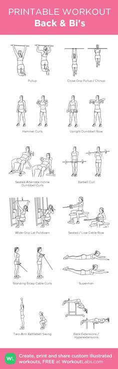 Back & Bi's: my custom printable workout by @WorkoutLabs #workoutlabs #customworkout