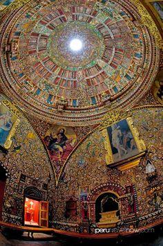 Interior of La Compania Church, Arequipa, Peru