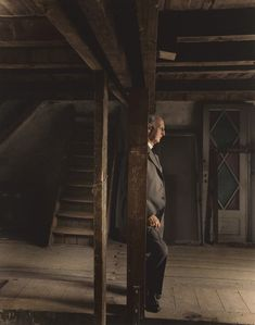 Otto Frank, Anne Frank's father and the only surviving member of the Frank family, revisiting the attic they spent the war in