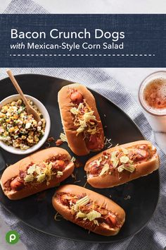 Bacon Crunch Dogs with Mexican-Style Corn Salad - Publix Aprons Simple Meals Hot Dog Recipes, Great Recipes, Favorite Recipes, Family Recipes, Corn Salad Recipes, Corn Salads, Vegetable Recipes, Mexican Style Corn, Publix Aprons Recipes