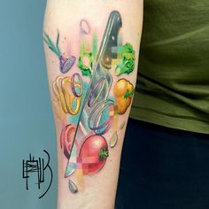 Pixelate by Lesha Lauz Modern Tattoos, Sexy Tattoos, Unique Tattoos, Sleeve Tattoos, Symbolic Tattoos, Koch Tattoo, Cooking Tattoo, Vegetable Tattoo, Culinary Tattoos