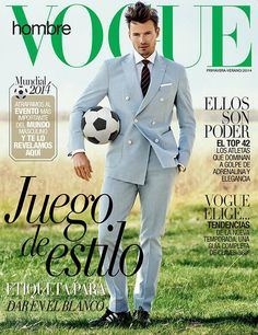 World Cup 2014 Supermodel Alex Lundqvist takes the cover of the World Cup inspired Vogue Hombre's Spring Summer 2014 editio