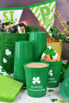 Slainte! These party cups are a must-have for serving green beer and ale at St. Patrick's Day parties. Set some out at your favorite Irish pub or at home during your St. Patty's Day bash for guests to take home as party favors and souvenirs. Personalized plastic cups are dishwasher safe and resuable so they will last long after your party. To order, visit http://www.tippytoad.com/personalized-st-patricks-day-stadium-cups.asp