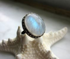 CLEARANCE ice blue rainbow moonstone sterling by artsandadornments
