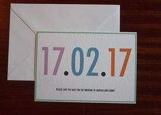 Simple Colourful Wedding Save The Date Cards by PinkPersian
