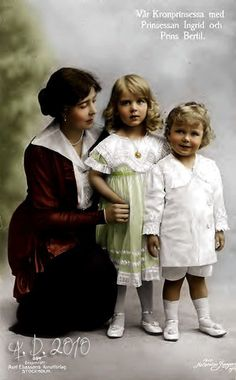 Princesse héritière de Suède, Margaret de Connaught (1882-1920) la princesse Ingrid (1910-2000) et le prince Bertil (1912-1997)