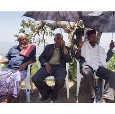 """April 1, 2015: Post by Mark Visser, """"Today was by far the most humbling experience of my life. We were invited to sit down opposite Mr. Girma Wandafrash (former Antsokia Governor, center), and the three religious leaders of the people. Perched atop a mountainside overlooking the now lush Antsokia valley we discussed the once barren valley and the steps they and World Vision took to rehabilitate the land and save the lives of tens of thousands of people..."""" Click image to read full post."""
