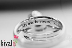 funny wedding ring inscription by our member Kivalo Photography