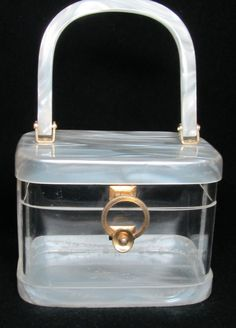 VINTAGE LUCITE BOX PURSE, MARBLEIZED PEARL WHITE + CLEAR, NICE~~~ #Unbranded #Box