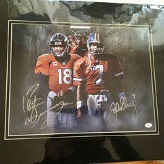 Peyton Manning/John Elway football rare signed matted photo w/COA