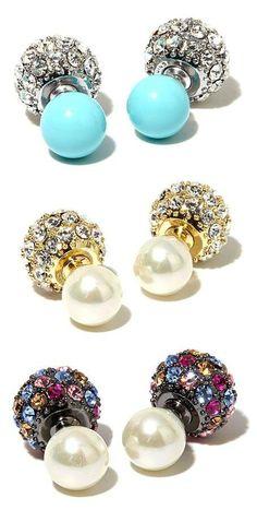 Beaded Rhinestone Pearl Earrings