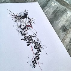Geometric trash polka abstract architecture tattoo design
