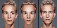 Series of photos by Julian Wolkenstein examines the belief that people who have more symmetrical faces are considered to be more attractive.    The portraits were split into a left and a right section, then one side was horizontally flipped to create two symmetrical identities of the subject.