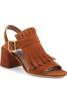 Prada Fringe Block Heel Sandal (Women) available at #Nordstrom