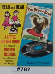 Vintage Little Golden Book Big Brown Bear and 45 RPM Record children's book Read…