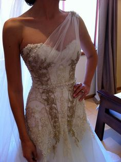 This Grecian one shoulder overlay can be added to your strapless dress ~ Speak to your seamstress