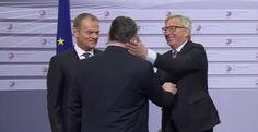 Juncker, President of the European Commission slaps Hungarian PM Orbán after calling him a 'Dictator'