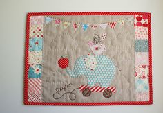 incorporate this darling elephant pull toy into the decor!  appliqued (quick hand stitch ) and framed?