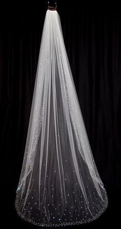 Bridal Veil with Crystal Edge and Scattered Crystals, Floor Length (75 inch) Crystal Wedding Veil, White or Ivory Veil, Style 1030 via Etsy