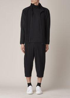 Issey Miyake Homme Plisse Pleated Zippered Cardigan (Black) #black #cardigan #man #socks #white #sneackers