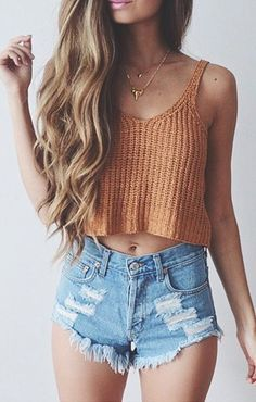 New Ladies Women Knitted Short Sleeveless Crop Tops Lady Vest Tanks Camis Bralet Bra Fashion New Summer Outfits - Damen Mode 2019 Fashion Mode, Look Fashion, Denim Fashion, Teen Fashion, Fashion Trends, Womens Fashion, Ladies Fashion, Fashion Outfits, Fashion Ideas