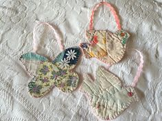 Christmas ornament. Ornament. Vintage Quilt. Butterfly. Dove. Christmas Decor. Rustic Décor. Primitive. Patchwork. Handmade. One-of-a-Kind.