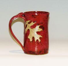 Oak Leaf Mug/Red Mug/Large Mug by PoplarRidgePottery on Etsy