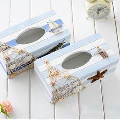 Vente chaude de mouchoirs en bois de Style méditerranéen boîte blanc bleu porte - serviette livraison gratuite(China (Mainland))