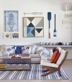 Use Tapetes Com Branco e Azul | Click Interiores