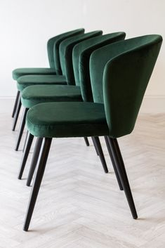 In a luxurious Rich Green velvet this Deco Dining Chair is a great addition to our Red & Gold versions in the range. Shop the Deco range & dining chairs here. Retro Dining Chairs, Wooden Dining Chairs, Cool Chairs, Dining Room Chairs, Dining Room Furniture, Dining Table, Dressing Table With Chair, Green Dining Room, Comfortable Dining Chairs