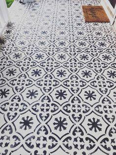Stenciled cement front porch using Cutting Edge Stencils DIY tile stencil patterns Porch Tile, Porch Paint, Patio Tiles, Porch Flooring, Cement Tiles, Painted Concrete Porch, Stenciled Concrete Floor, Painted Front Porches, Stamped Concrete Patterns