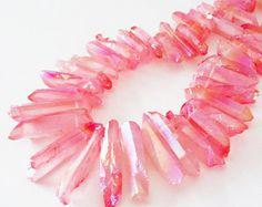 Metallic Coral Pink Spikes - Pink Druzy Titanium Beads - Long Crystal Quartz Points - Top Drilled - 10 Pcs - DIY Boho Jewelry Making
