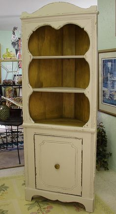 Vintage Reclaimed Primitive French Country Cottage Corner Cabinet Cupboard  (CALL For A SHIP Quote)