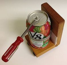 can holder for one-handed opening - Outreach Therapy Consultants  Website tips on DIY projects for people with disabilities, blogger is an occupational therapist