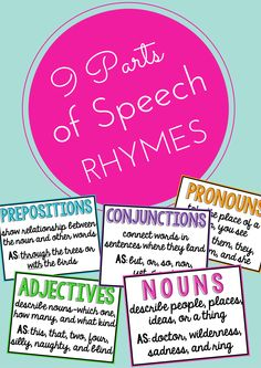 Help your students understand and remember parts of speech with these 9 rhymes!