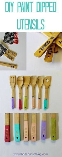 These paint dipped utensils will add plenty of chic to any kitchen and would be great as a gift for new neighbors or newly weds!