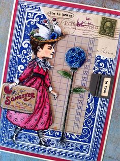 Artwork by Barbara Smith working with Character Constructions art stamps, Beekeeper's Tea collection.