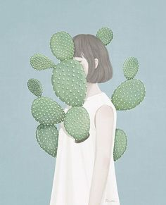 "Find and save images from the ""▶BFF/Couple Wallpapers◀"" collection by Art And Illustration, Kaktus Illustration, Illustrations Posters, Couple Wallpapers, Kreative Portraits, Cactus Drawing, Summer Wallpaper, Anime Kawaii, Art Graphique"