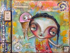 Mixed Media painting by Sunny Carvalho using StencilGiril stencils.